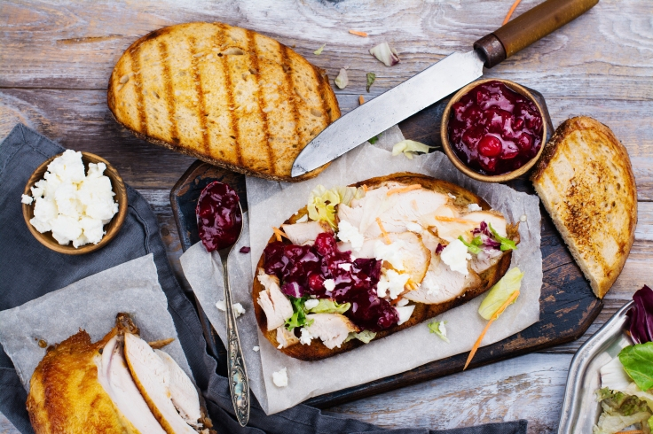 Homemade turkey leftover sandwich with cranberry sauce